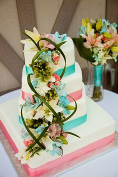 Mint and Coral Wedding Cake