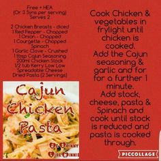 Sw cajun chicken pasta