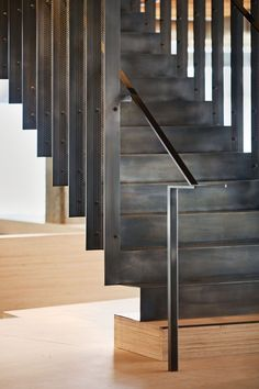 Heavybit Industries / IwamotoScott Architecture Hotel Encanto Acapulco staircase at the Art Gallery of Toronto: - - ? Architecture Design, Installation Architecture, Stairs Architecture, Industrial Architecture, Escalier Design, Stair Handrail, Railings, Steel Stairs, Wood Stairs