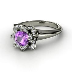 Lotus Ring, Round Amethyst White Gold Ring with Diamond from Gemvara