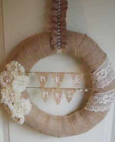 Burlap and Lace wreath. Wedding Gift wreath. by TheModernDoor