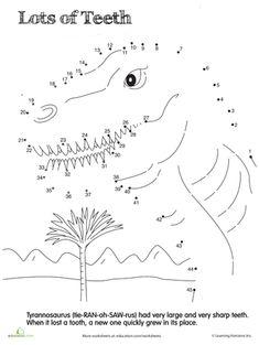Dino Dot to Dot: Tyrannosaurus Worksheet Dino Craft, Dinosaur Crafts, Dinosaur Worksheets, Preschool Worksheets, Creative Activities For Kids, Book Activities, Dot To Dot Printables, Connect The Dots, Tyrannosaurus