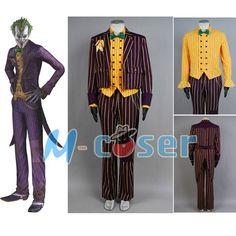 Batman Arkham Asylum Joker Dark Purple Jacket Coat Suit Yellow Long Sleeve Shirt For Men Halloween Cosplay Costume(China (Mainland))