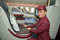 Qatar Airways air staff are required to have a minimum arm stretch of 84 inches while on tip-toes Airline Cabin Crew, Arm Stretches, International Airlines, Travel News, Flight Attendant, Car Rental, Lady, Cheap Flights, Watch Video