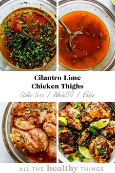 Cilantro lime chicken thighs are perfectly juicy, just a little crispy, and full of flavor. Not only is this recipe delicious, it is incredibly easy to make and will take you no time to whip up. Meal prep these chicken thighs in advance for an easy lunch or make them for a quick weeknight dinner. #cilantro #lime #chicken Easy Whole 30 Recipes, Paleo Recipes Easy, Lunch Recipes, Healthy Dinner Recipes, Real Food Recipes, Chicken Recipes, Cooking Recipes, Whole30 Recipes, Healthy Meals