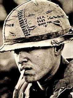 Vietnam (US soldier) The helmet says it all.