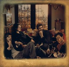 The marauders hanging out in the gryffindor boys' dormitory , James just find out how to play guitar and Peter is singing some muggle's rock and roll songs, Remus can't hold the laugh of how  terrible both of them sound, and Sirius is there, amazingly happy to have this bunch of dumbasses as friends