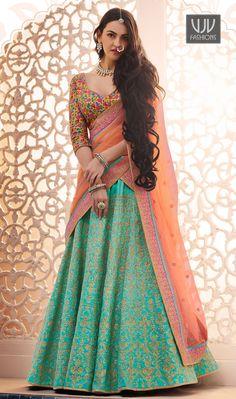 Buy Gorgeous Green Designer Embroidered Phantam Silk Lehenga Choli at Rs. Get latest Lehenga for womens at Ethnic Factory. Indian Lehenga, Lehenga Sari, Green Lehenga, Lehenga Choli Online, Bridal Lehenga, Pakistani Bridal, Lengha Dress, Anarkali Suits, Punjabi Suits