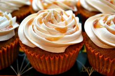 Pumpkin Spice Cupcakes with Salted Caramel Frosting. These are in the top 5 favorite cupcakes I've ever made. Great for fall get-togethers.