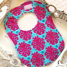 Girl Baby Bib Hot Pink Damask Babyshower Gift by LePetiteBirdie