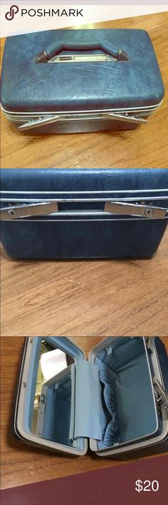 Vintage Blue Samsonite Train Cosmetic makeup case Nice blue train case. These are so desirable still because of their handiness and function. This one is in good shape. There is a small dent on a bottom corner but that's all.  Please take a look at all my items for more Train cases and other great finds. Thanks. Vintage Bags Travel Bags