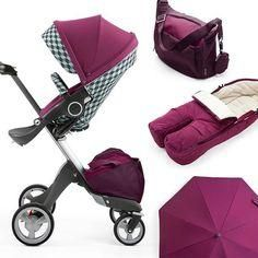 Perfection in Purple ! Stokke Xplory Stroller with modern Purple accessories for baby & kids