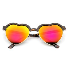 - Description - Measurements - Shipping - Adorable half frame heart shape silhouette frame that feature fun color tinted lenses. These heart shaped sunglasses are sure to win over hearts on all your s