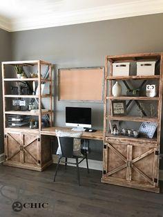 Ideas For Farmhouse Desk Diy Offices Shelves Diy Office Desk, Diy Computer Desk, Office Shelving, Home Office Space, Home Office Design, Diy Desk, Home Office Decor, Diy Home Decor, Shelves