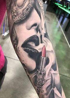 Female Sleeve Lips Blowing Smoke Tattoo - Female Sleeve Lips Blowing Smoke Tattoo away tattoo - Lipstick Tattoos, Makeup Tattoos, Body Art Tattoos, Girly Tattoos, Trendy Tattoos, Tatoos, Feminine Tattoos, Roses Tatoo, Rauch Tattoo