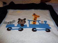 Animal train blanket by AlisCraftLlan on Etsy