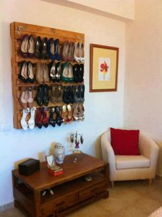 pallets wall for high heels (but not sure if thats healthy for the heels..)