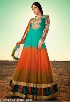 Anarkali Dress | Embroidery on Netting | Flower Applique on Sleeves | Turquoise on Orange Ombré
