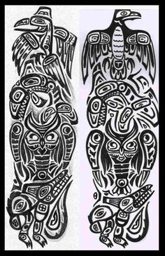 Totem pole Raven Killer wale Owl and Wolf Totem Pole Drawing, Totem Pole Tattoo, Raven Totem, Raven Art, Native American Totem Poles, Native American Art, American Symbols, Black Tattoos, Tribal Tattoos