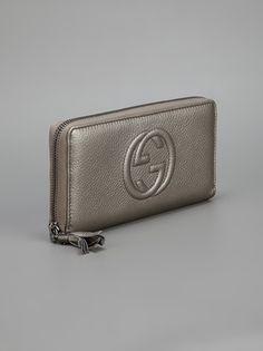 GUCCI -  Metallic grey soho logo purse  #gucci #gucciwallets #guccipurses #wallets #women