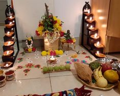 Diwali Decoration Lights, Mandir Decoration, Ganpati Decoration Design, Diwali Decorations At Home, Ganapati Decoration, Backdrop Decorations, Festival Decorations, Flower Decorations, Tulsi Vivah