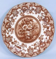Red Floral Toile Porcelain Plate 10 inches