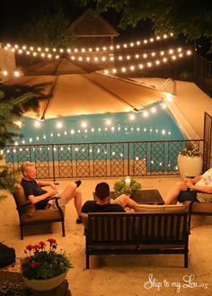 How to get your backyard party ready! Lights, flowers, landscape, etc. #diy #party skiptomylou.org
