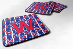 Letter W Football Harvard Crimson and Yale Blue Foam Coaster Set of 4 CJ1076-WFC