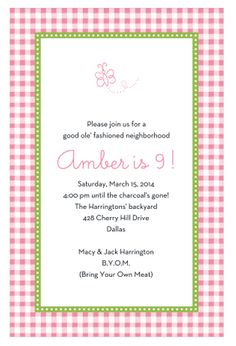 Gleeful Gingham Party Invitation | Paper & Pearl