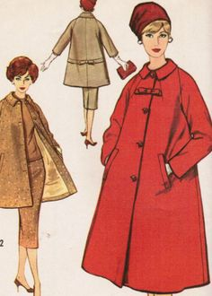 Vintage 1958 Simplicity 2694 UNCUT Sewing Pattern Misses' Coat in Two Lengths and Skirt Size 14 Bust 34