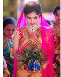 Bridal makeover looks so gorgeous. Wedding Looks, Bridal Looks, Bridal Style, Indian Bridal Sarees, Indian Bridal Fashion, South Indian Weddings, South Indian Bride, Telugu Wedding, Wedding Bride