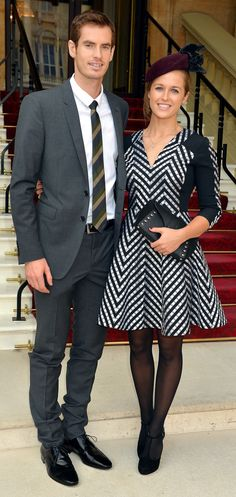 British tennis player Andy Murray wearing Burberry tailoring to receive his OBE at Buckingham Palace in London