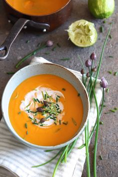 Sweet Potato and Lime Soup with Coconut and Chives - Autoimmune Paleo
