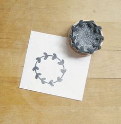 NEW Leafy Wreath Hand Carved Rubber Stamp