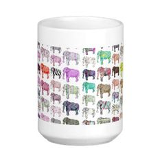 Whimsical Elephants girly floral stripes pattern Mug