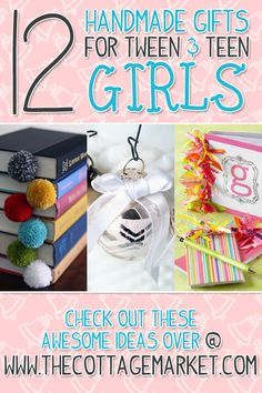 A dozen handmade gifts for tween & teen girls - the cottage market noel christmas Diy Crafts For Teen Girls, Diy Projects For Teens, Diy And Crafts, Crafts For Kids, Crafts Cheap, Sewing Projects, Craft Projects, Tween Gifts, Gifts For Teens