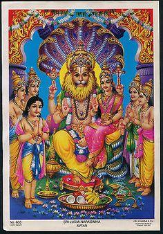 "India 1970s Hindu poster SRI LUXMI NARASIMHA by JB Khanna 6.5"" X 9.5"""