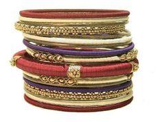 Shades of Violet Silk Thread Wrapped Bangle Bracelet Set