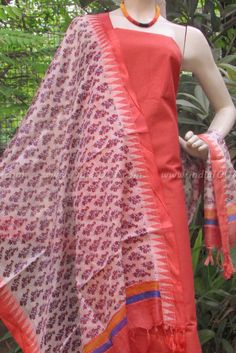 Elegant Block Printed Tussar Silk Dupatta & Silk Cotton Kurta | India1001.com