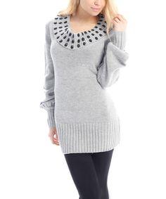 Pink Ocean Gray Jewel Rib Hem Sweater