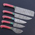 Chef Knife Set, Knife Sets, Damascus Blade, Damascus Steel, Kitchen Ware, Kitchen Knives, Chef Knives, Low Carbon, Rugged Style
