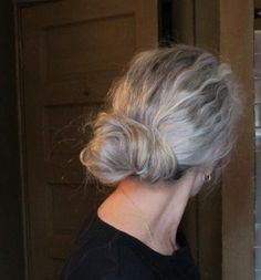 first attempt at a messy bun...using a few bobby pins...I'll keep working on this..