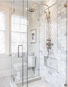 29 Popular Bathroom Shower Tile Design Ideas And Makeover. If you are looking for Bathroom Shower Tile Design Ideas And Makeover, You come to the right place. Here are the Bathroom Shower Tile Design. White Bathroom Tiles, Bathroom Tile Designs, Bathroom Inspiration, Bathroom Decor, Bathroom Remodel Master, Bathroom Redo, Small Bathroom Remodel, Farmhouse Master Bathroom, Bathroom Renovations