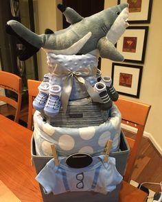 Shark boy diaper cake