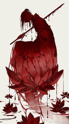 Scene Inspiration: The Fallen Rose Art Manga, Art Anime, Fantasy Anime, Fantasy Art, Art Sketches, Art Drawings, Inspiration Art, Art Asiatique, Japon Illustration