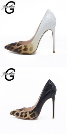 b712b56a63cb GENSHUO Brand 10cm High Heel Shoes Women Patent Leather Pumps Sexy Pointed  Toe Heels Leopard Mix