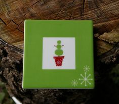 Starbucks Coffee Company Christmas Holiday 2006 Coaster Green Potted Snowman  | eBay