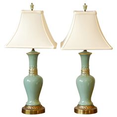 Pr Ceramic Table Lamps  USA  mid 20th century  Perfect for bedside!