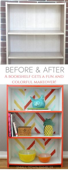 From trash to treasure: A bookshelf gets a fun and colorful makeover using a chevron stencil and spray paint. @rustoleum @stencilslab #DIY