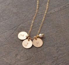 Sterling Silver Initial Necklace Gold Disc Initial Necklace
